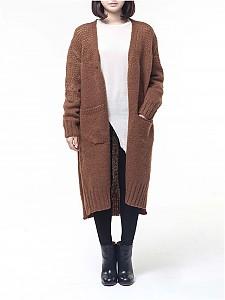 brushed bulky long cardigan