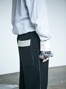 Double face Wide-leg Pants[BLACK]
