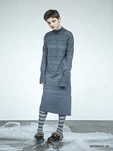 Slit Midi Dress[GREY]