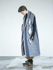 Diamond Jacquard Vest Coat[GREY]