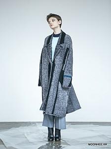 Oversized Tweed Jacquard Coat[GREY]
