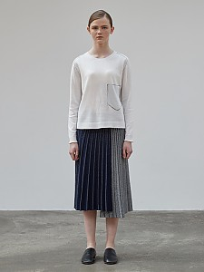 Accordion Metallic Skirt [NAVY] 기획상품