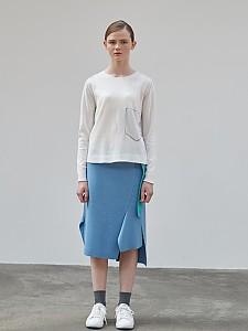 Block Check Unbalance Skirt [BLUE]