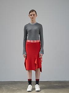 Block Check Unbalance Skirt [RED]