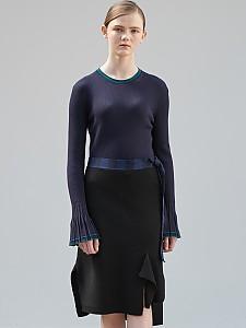 Block Check Unbalance Skirt [BLACK]