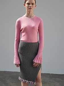 Frill Wave Rib Skirt [GREY]