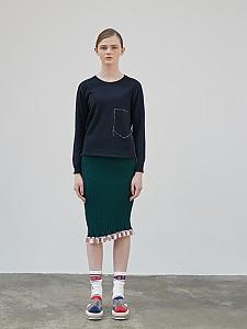Frill Wave Rib Skirt [GREEN]