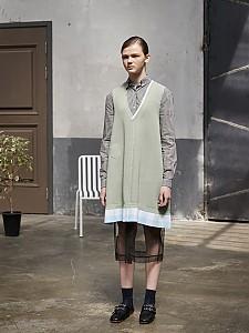 Block Check V-Neck Frill Dress [L/GREEN]
