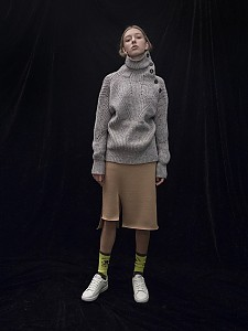 M7WT01A [Multi-Colored Ribbed Bulky Pullover] GREY
