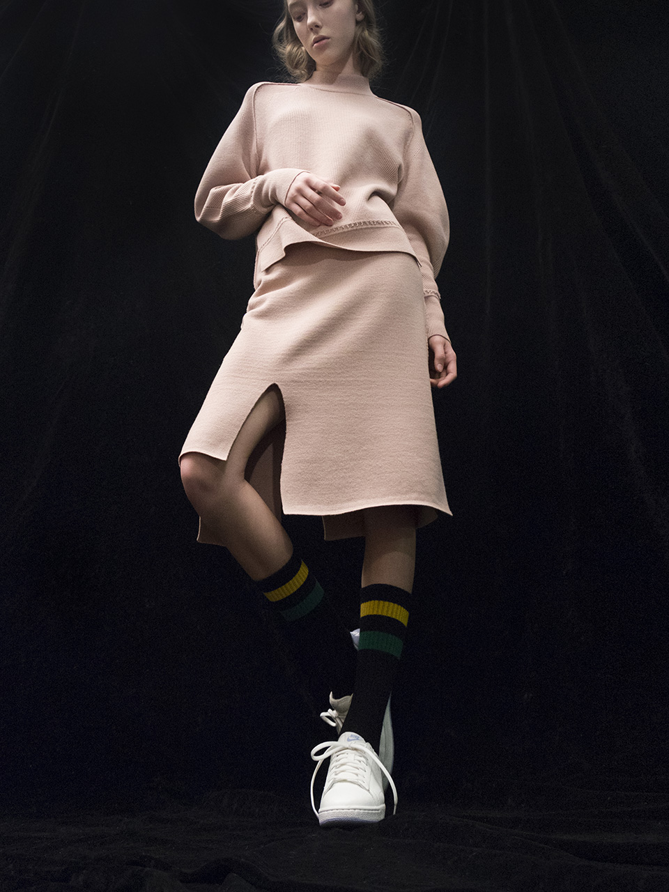 M7WS01A [Slit-Intarsia Knit Skirt] BEIGE
