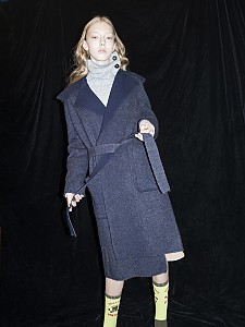 M7WO01A [Brushed Mohair Hooded Coat] DARK NAVY