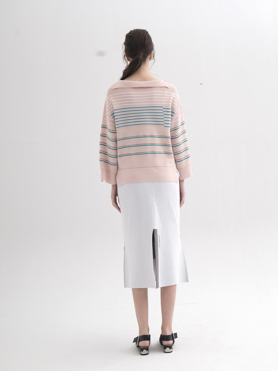 Unbalanced Collar Stripe Pullover