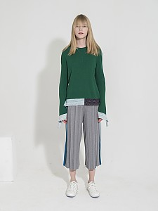 Side-Stripe Ribbed Knit Pants