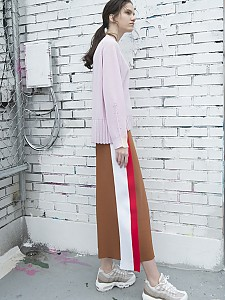 Side-Stripe Knit Wide Pants