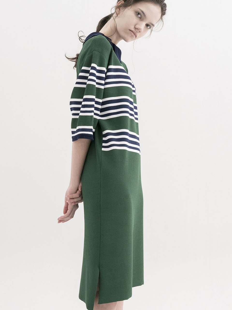 [Stripe Dress with Asymmetric Collar