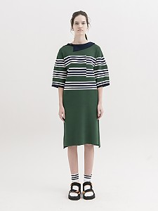 [Stripe Dress with Asymmetric Collar