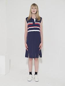 Open Collar Stripe Knit Dress