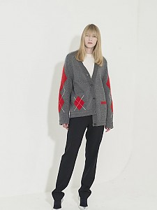 Argyle Angora Point Cardigan - GRAY