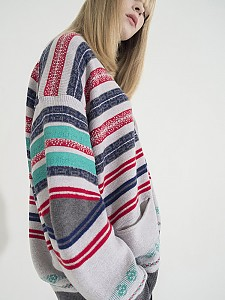Multi-Colored Stripe Jacquard Cardigan -L/GRAY