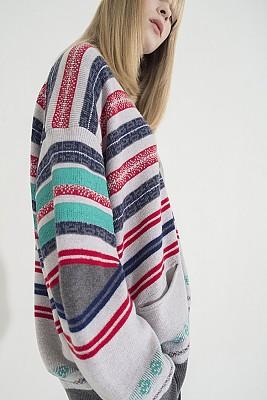 Multi-Colored Stripe Jacquard Cardigan -L/GRAY