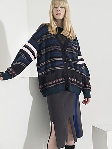 Multi-Colored Stripe Jacquard Cardigan - D/NAVY