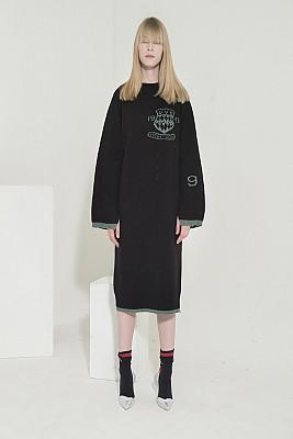 Jacquard-Point Oversized Long Dress -BLACK