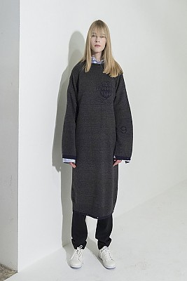 Jacquard-Point Oversized Long Dress -GRAY