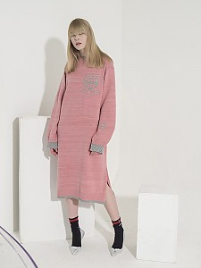 Jacquard-Point Oversized Long Dress - PINK