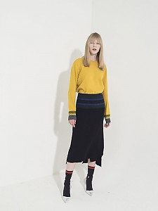 Unbalance Ribbed-Waist Knit Skirt -BLACK