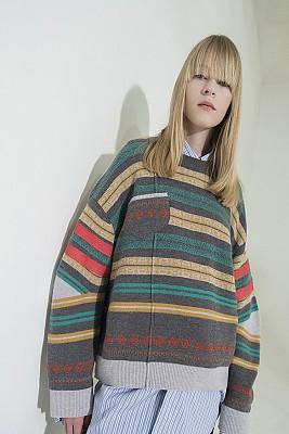 Multi-Colored Stripe Jacquard Pullover - D/GRAY