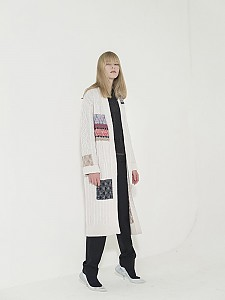 Cable Multi-Jacquard Long Cardigan - IVORY