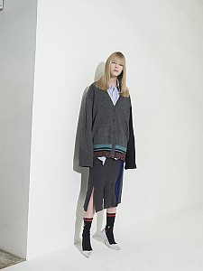 Flared Sleeve Color-Block Cardigan - GRAY