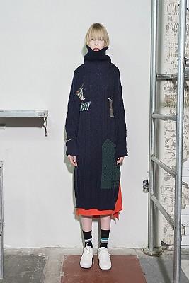 Cable Multi-Jacquard Long Turtleneck Dress - NAVY