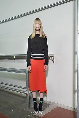 Unbalance Ribbed-Waist Knit Skirt - ORANGE