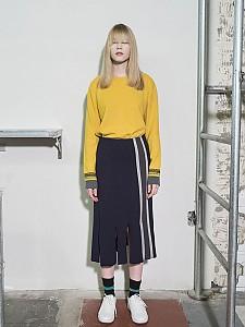 Vertical Stripes Intarsia Knit Skirt -D/NAVY