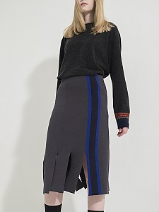 Vertical Stripes Intarsia Knit Skirt -D/GRAY