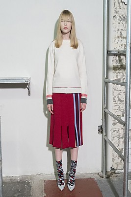 Vertical Stripes Intarsia Knit Skirt -RED